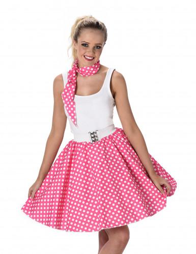 Roze jaren 50 kostuum met stippen voor vrouwen-1