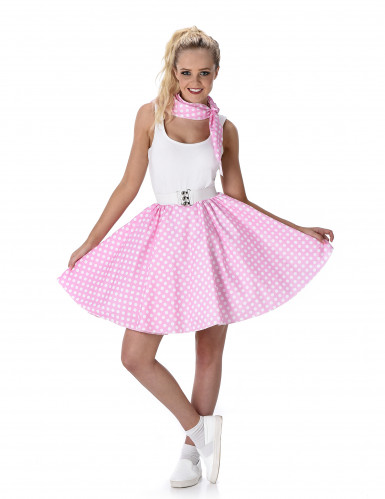 Licht roze 50's kostuum voorvrouwen