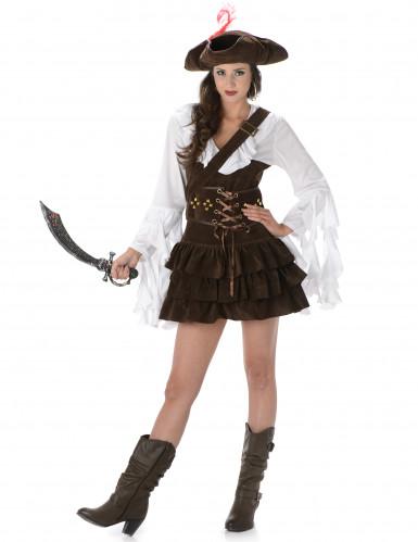 Bruin-wit piraten kostuum voor vrouwen