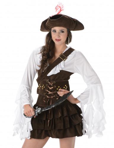 Bruin-wit piraten kostuum voor vrouwen -1