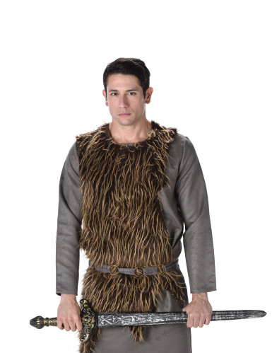 Grijs viking kostuum met nepbond voor heren-1