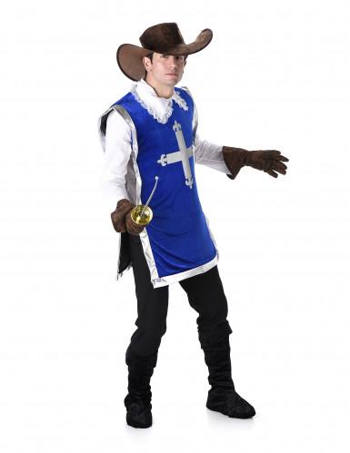 Donkerblauw musketier kostuum voor mannen