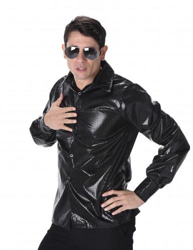 Zwart disco shirt met lovertjesprint voor mannen-1