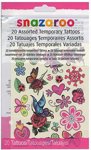 20 tijdelijke Snazaroo™ tatoeages voor meisjes