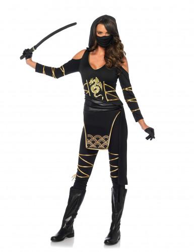 Goudkleurig draken ninjakostuum voor vrouwen-1