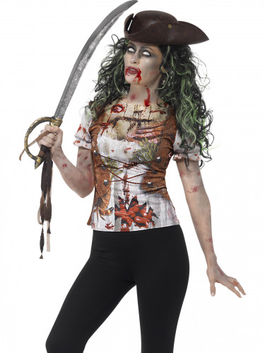 Piraten zombie t-shirt voor vrouwen