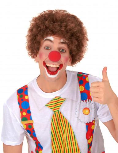 Bruine afro clownspruik voor volwassenen-1