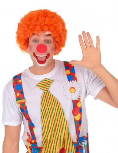 Oranje afro clownspruik voor volwassenen-1