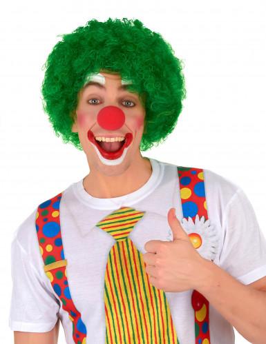 Groene afro clownspruik voor volwassenen-1