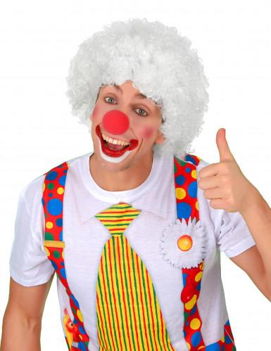 Witte afro clownspruik voor volwassenen-1