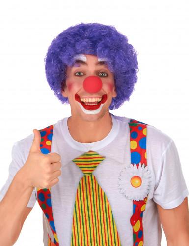 Paarse afro clownspruik voor volwassenen-1