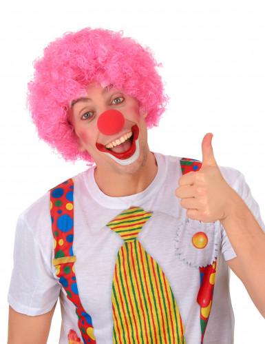 Roze afro clownspruik voor volwassenen-1