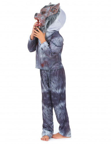 Eng grijs weerwolf kostuum met masker voor kinderen-1