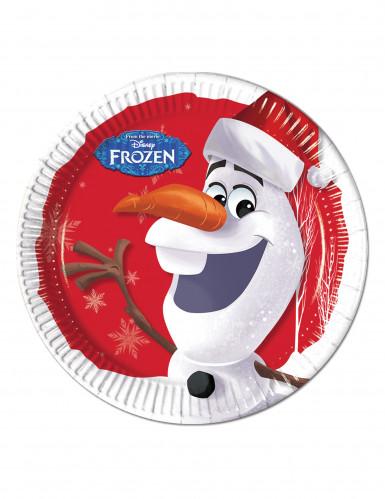 8 kartonnen Olaf Kerst™ borden 23 cm
