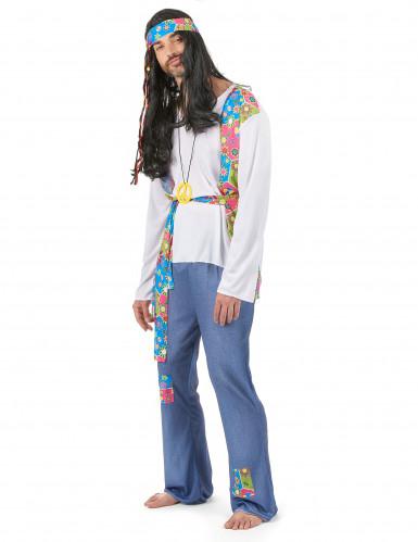 Kleurrijk hippie koppelkostuum voor volwassenen-1