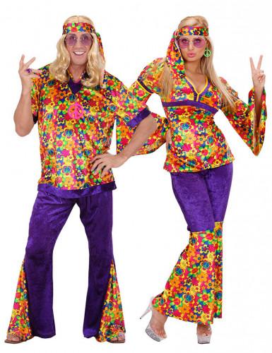 Bloemen hippie koppelkostuum voor volwassenen