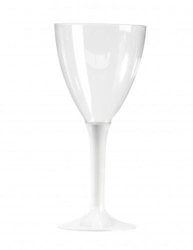 10 witte plastic wijnglazen