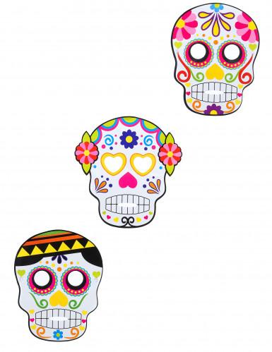 3 kartonnen Día de los Muertos maskers