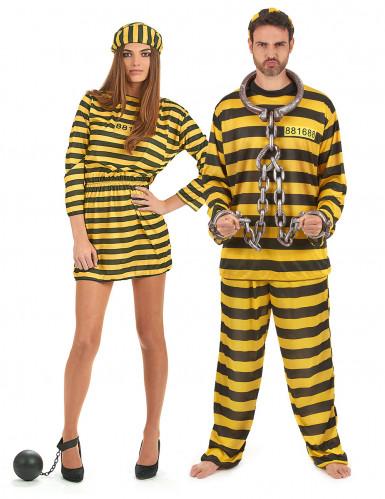 Geel gevangenen koppelkostuum voor volwassenen