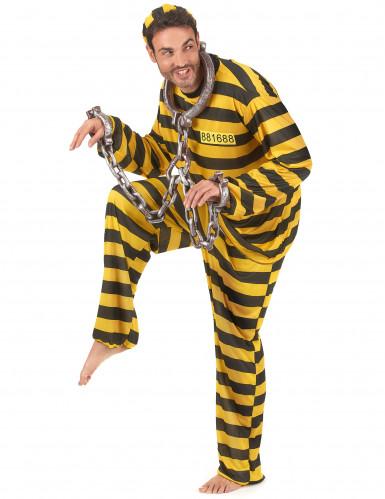 Geel gevangenen koppelkostuum voor volwassenen-1