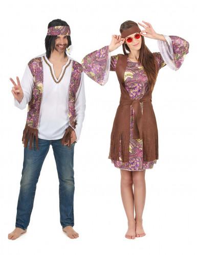 Paars hippie koppelkostuum voor volwassenen