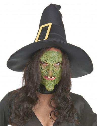 Groene latex heks halfmaskers voor volwassenen