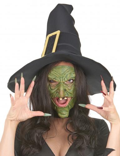 Groene latex heks halfmaskers voor volwassenen-1