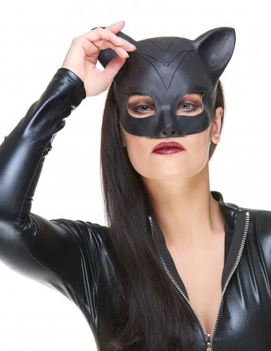 Zwart latex katten masker voor vrouwen