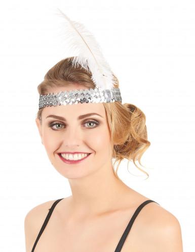 Zilverkleurige Charleston hoofdband met lovertjes en veer-1