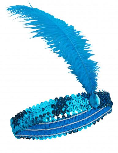 Blauwe charleston hoofdband met veer voor vrouwen