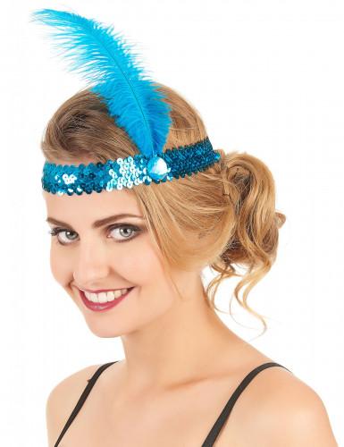 Blauwe charleston hoofdband met veer voor vrouwen-1
