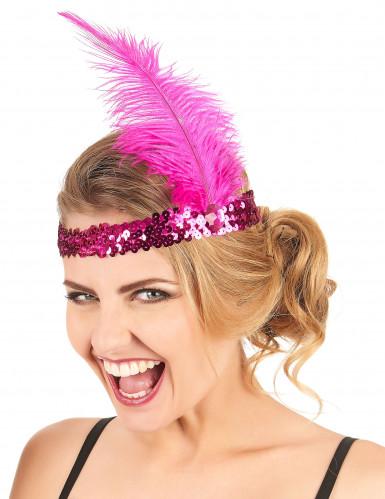 Fuchsia roze charleston hoofdband voor vrouwen-1