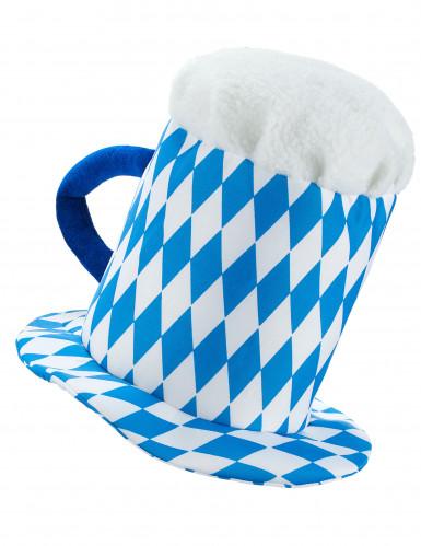 Blauwe en witte bierpul hoed voor volwassenen