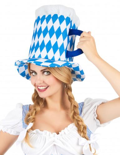 Blauwe en witte bierpul hoed voor volwassenen-1