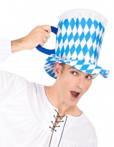 Blauwe en witte bierpul hoed voor volwassenen-2