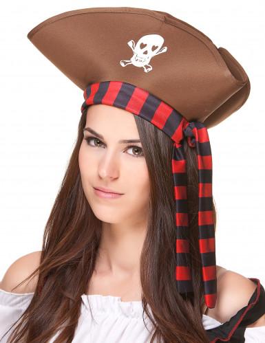 Bruine piratenhoed voor volwassenen-1