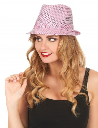 Roze borsalino hoed met lovertjes-1