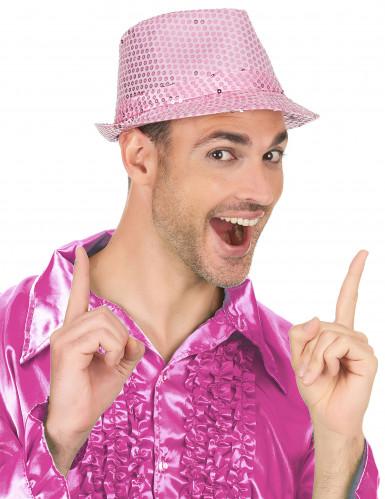 Roze borsalino hoed met lovertjes-2
