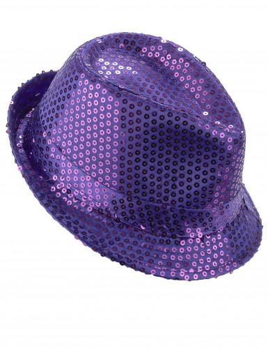 Paarse borsalino hoed met lovertjes