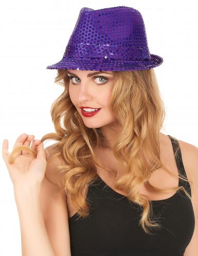 Paarse borsalino hoed met lovertjes-1