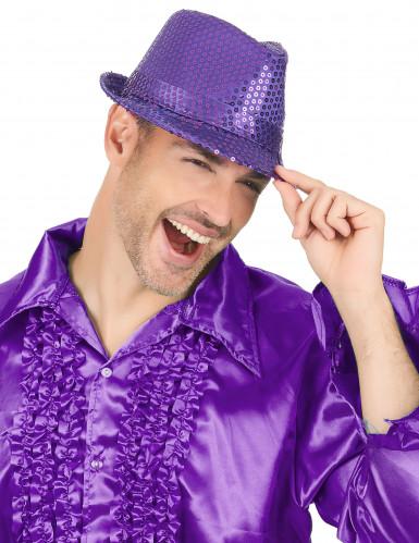 Paarse borsalino hoed met lovertjes-2