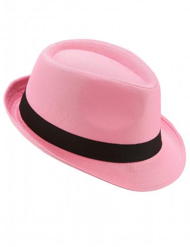 Roze hoed met zwarte band voor volwassenen