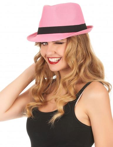 Roze hoed met zwarte band voor volwassenen-1