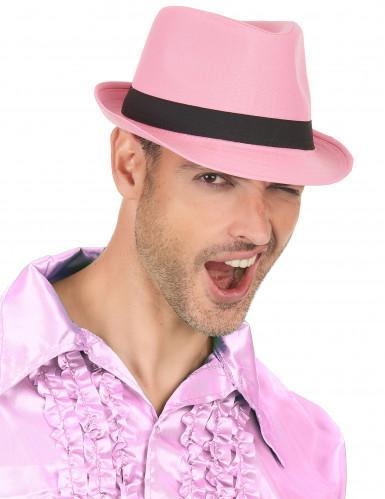 Roze hoed met zwarte band voor volwassenen-2