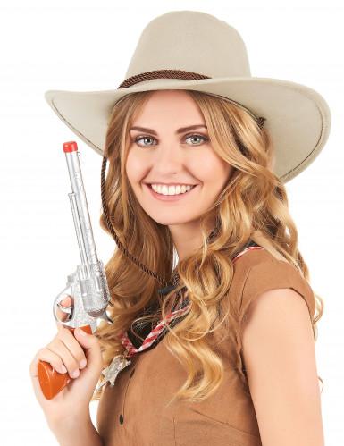 Beige suède cowboyhoed voor volwassenen-1