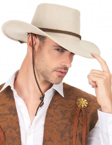 Beige suède cowboyhoed voor volwassenen-2