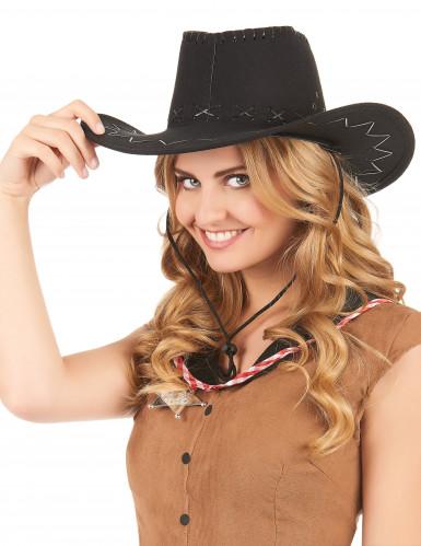 Zwarte cowboy hoed voor volwassenen-1