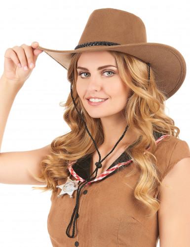 Bruine suède cowboyhoed voor volwassenen-1