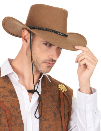 Bruine suède cowboyhoed voor volwassenen-2