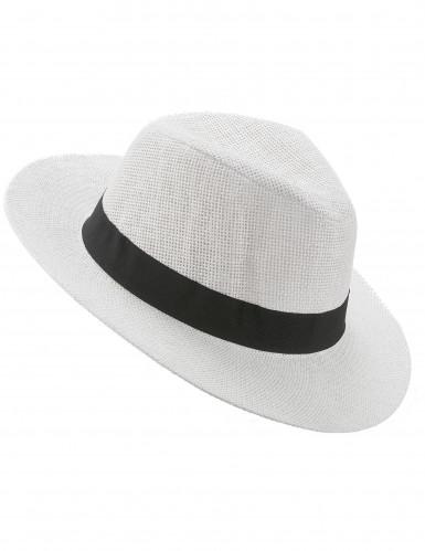 Witte panamahoed met zwarte band voor volwassenen